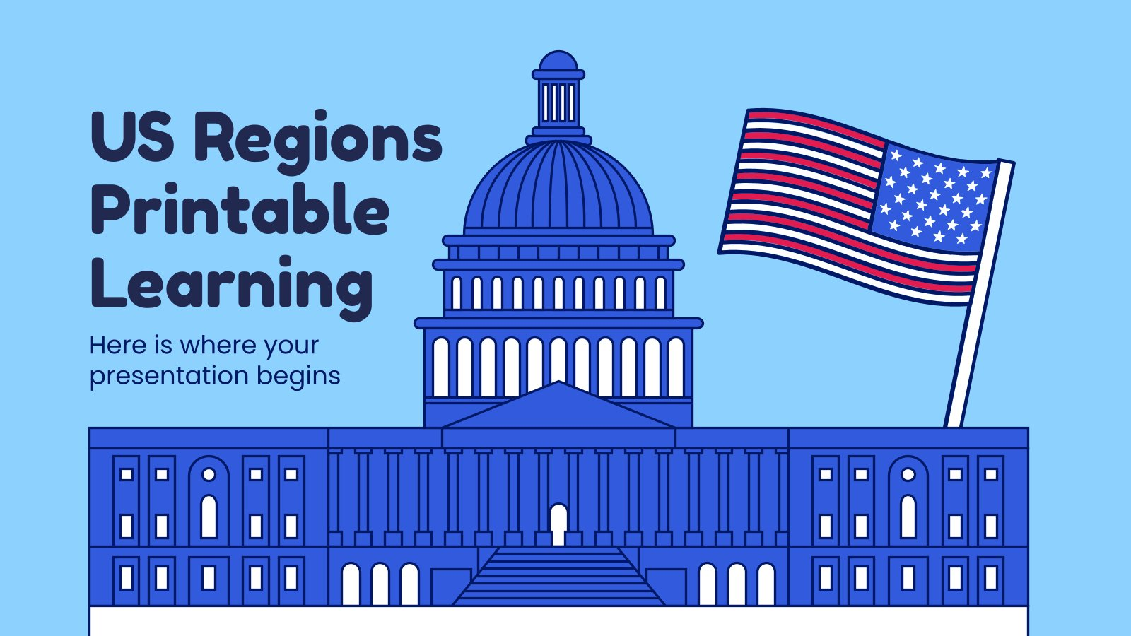 US Regions Printable Learning presentation template