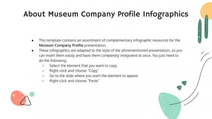 Modelo de apresentação Infográficos de perfil de museu
