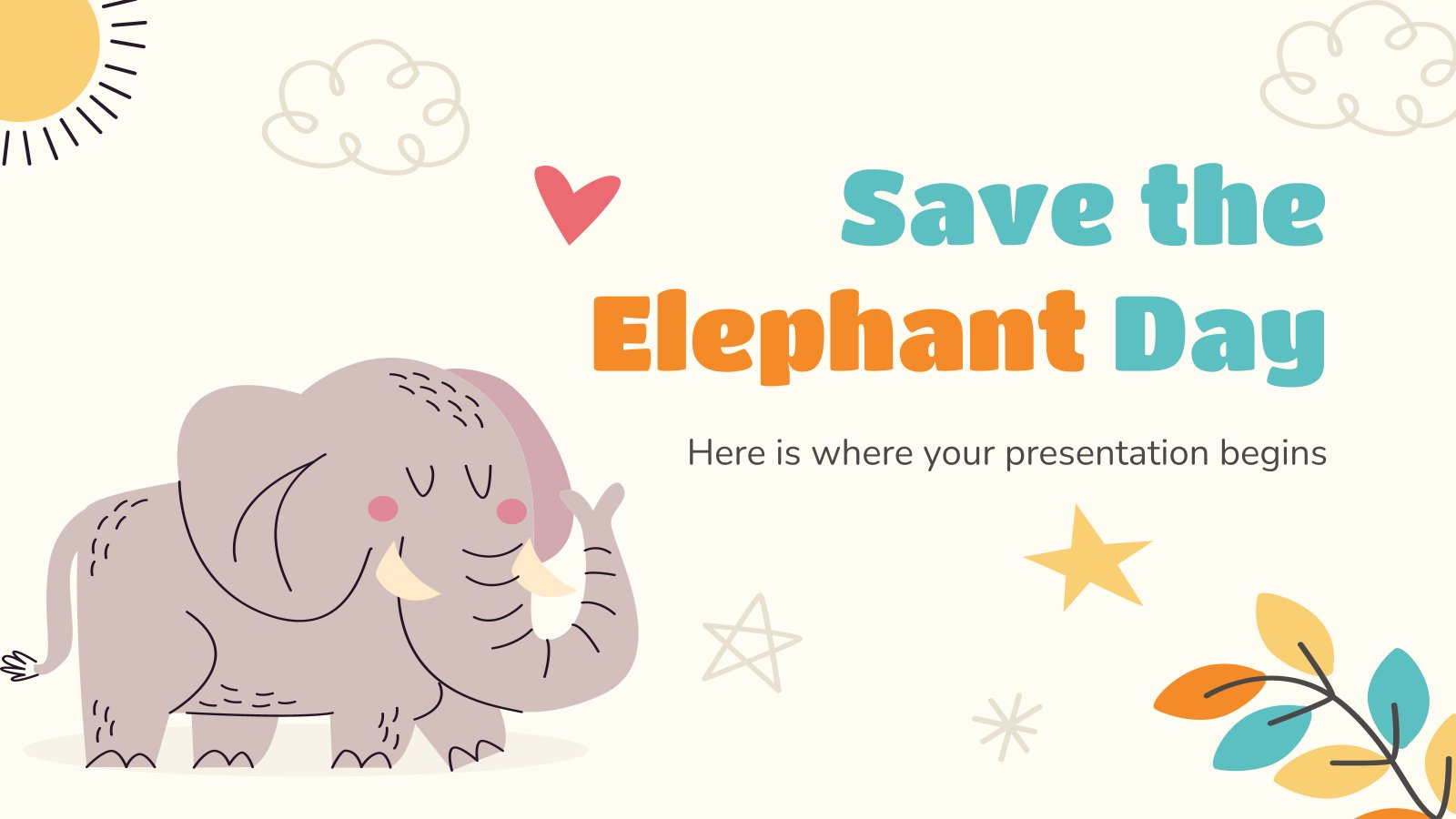 Save the Elephant Day presentation template