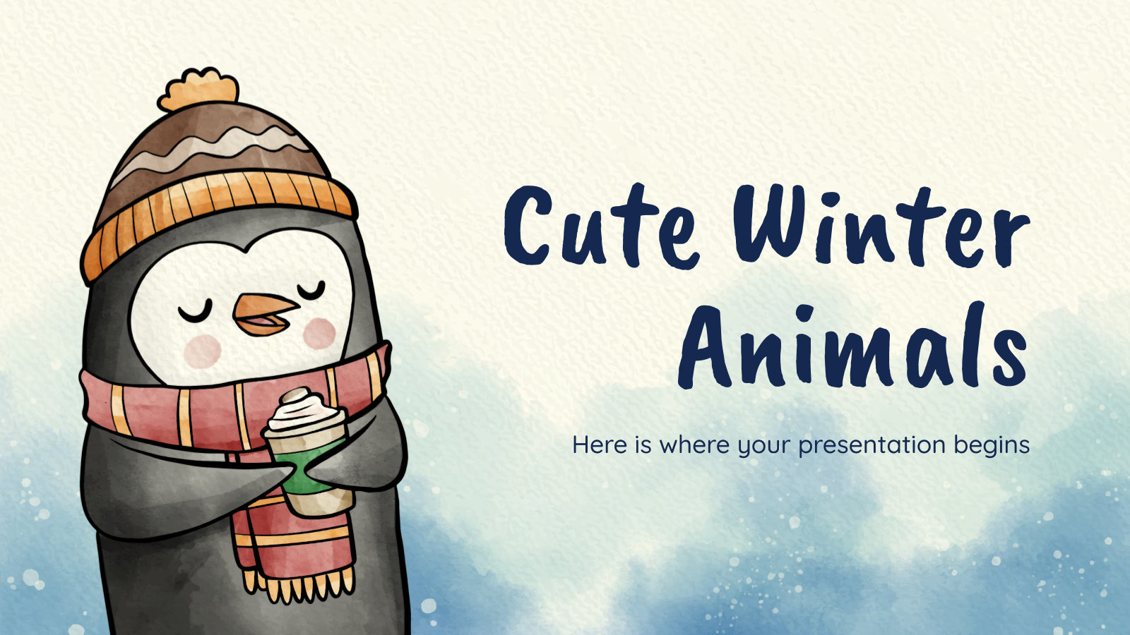 Cute winter animals presentation template