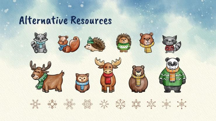 Modelo de apresentação Animais fofos do inverno