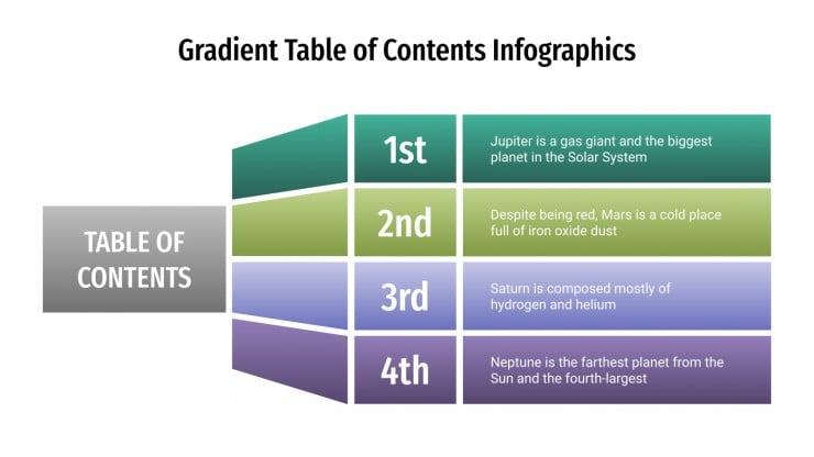 Modelo de apresentação Infográficos de índice em degradê