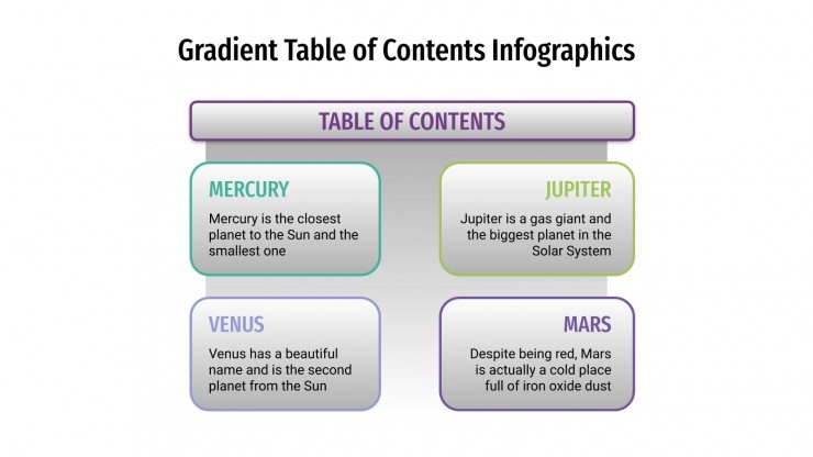 Gradient Table of Contents Infographics presentation template