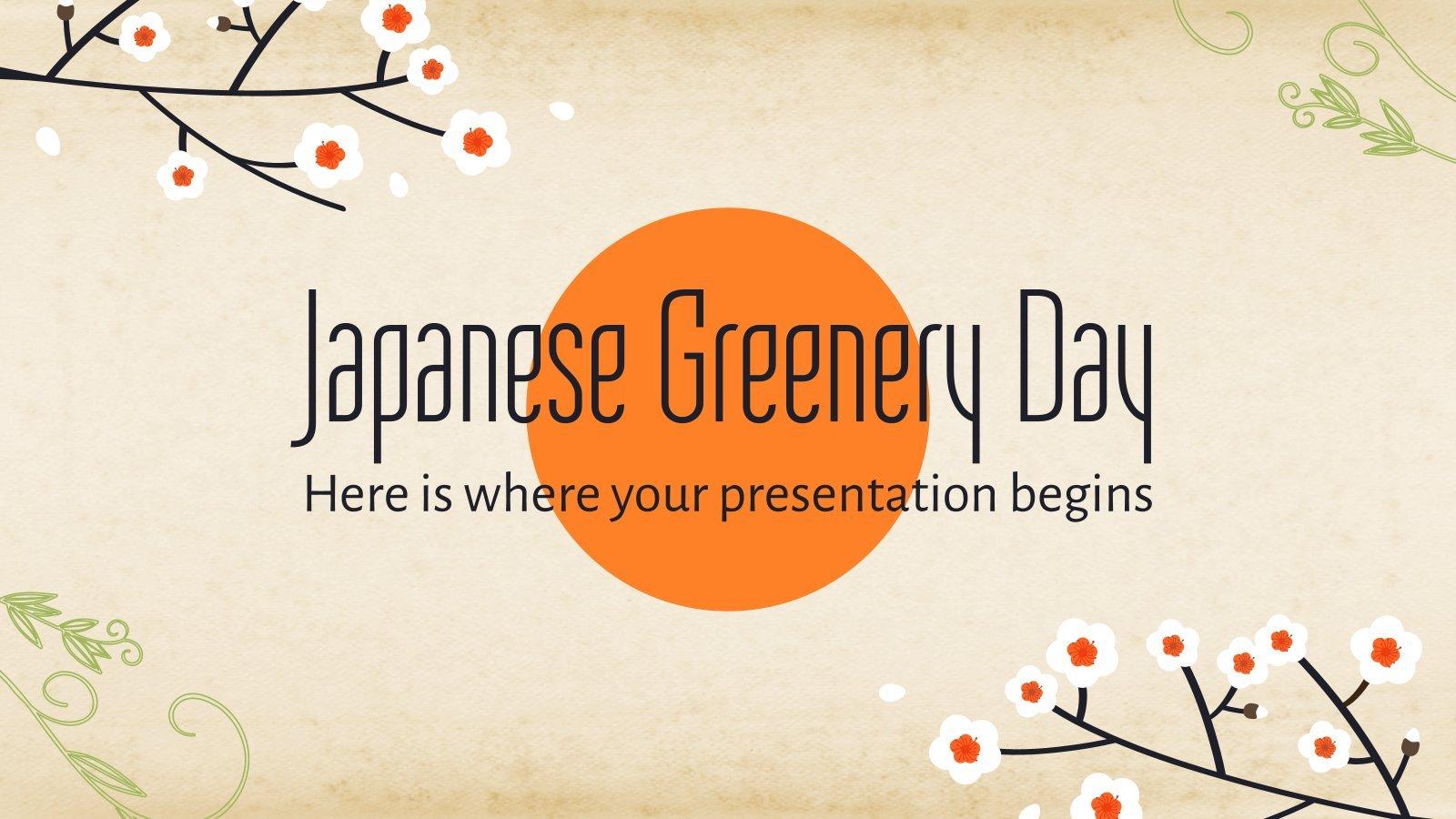 Plantilla de presentación Día del verdor japonés
