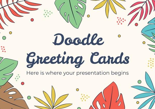Plantilla de presentación Tarjetas de felicitación con doodles