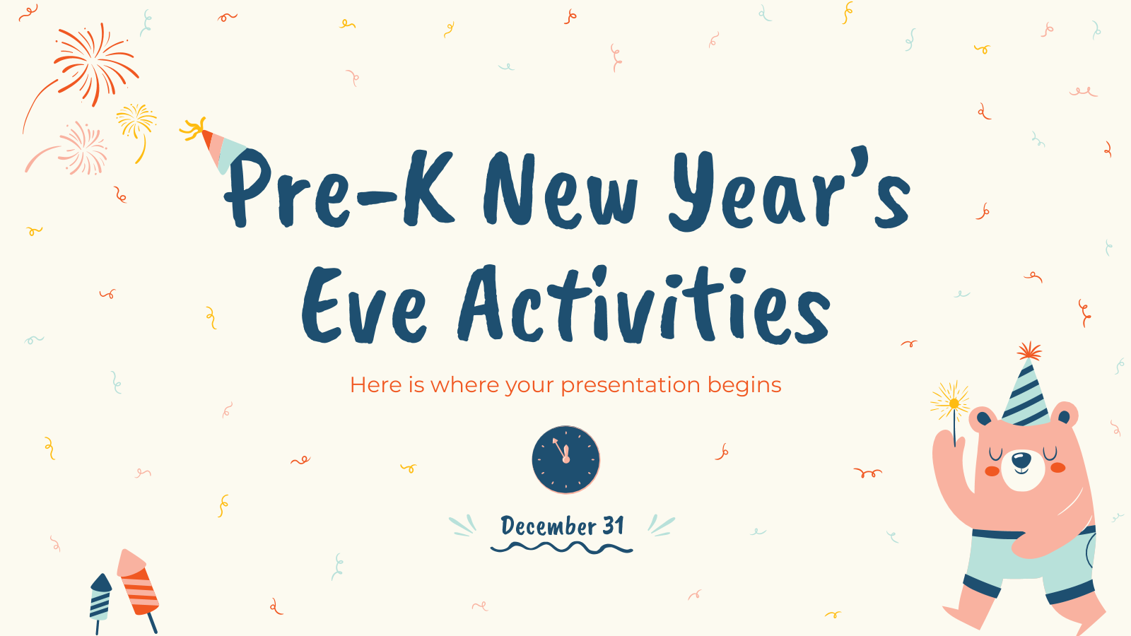 Pre-K New Year's Eve Activities presentation template