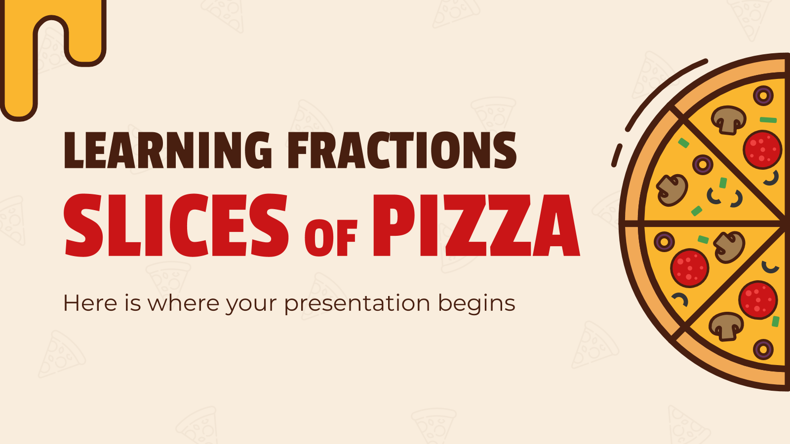Learning Fractions: Slices of Pizza presentation template
