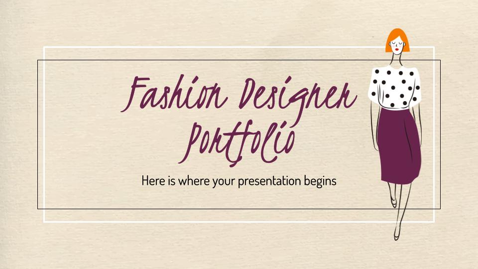 Modelo de apresentação Portfólio de designer de moda