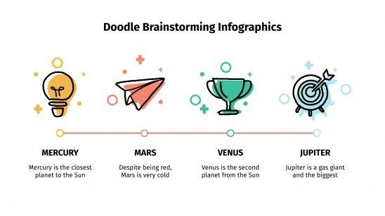 Modelo de apresentação Infográficos de brainstorming com rabiscos