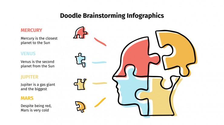 Plantilla de presentación Infografías de lluvias de ideas con doodles