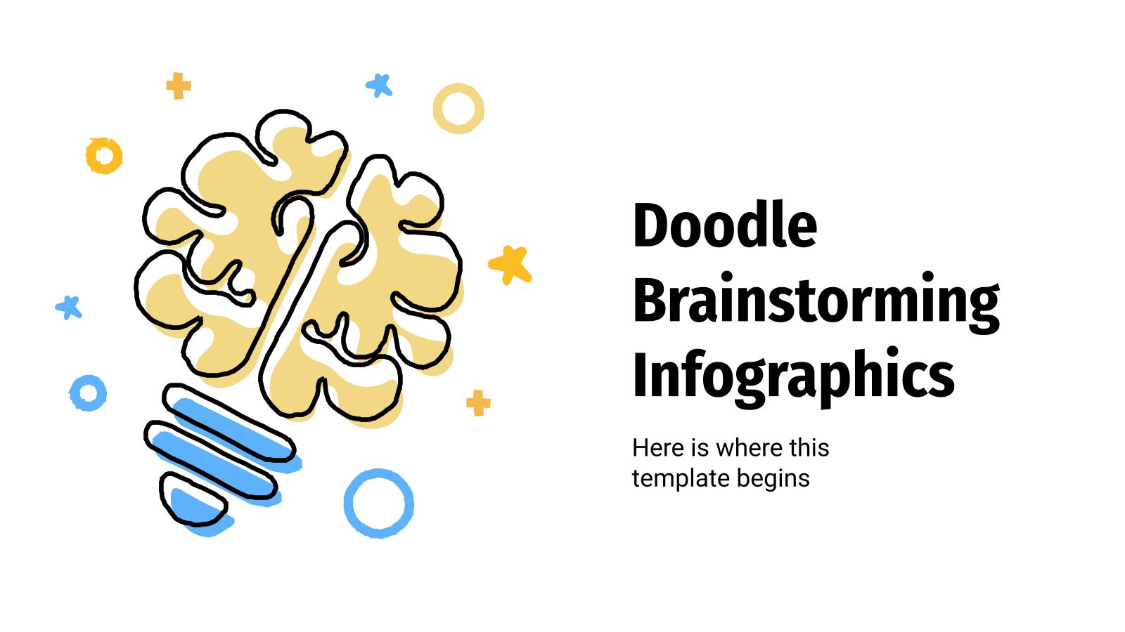 Plantilla de presentación Doodle Brainstorming Infografiken