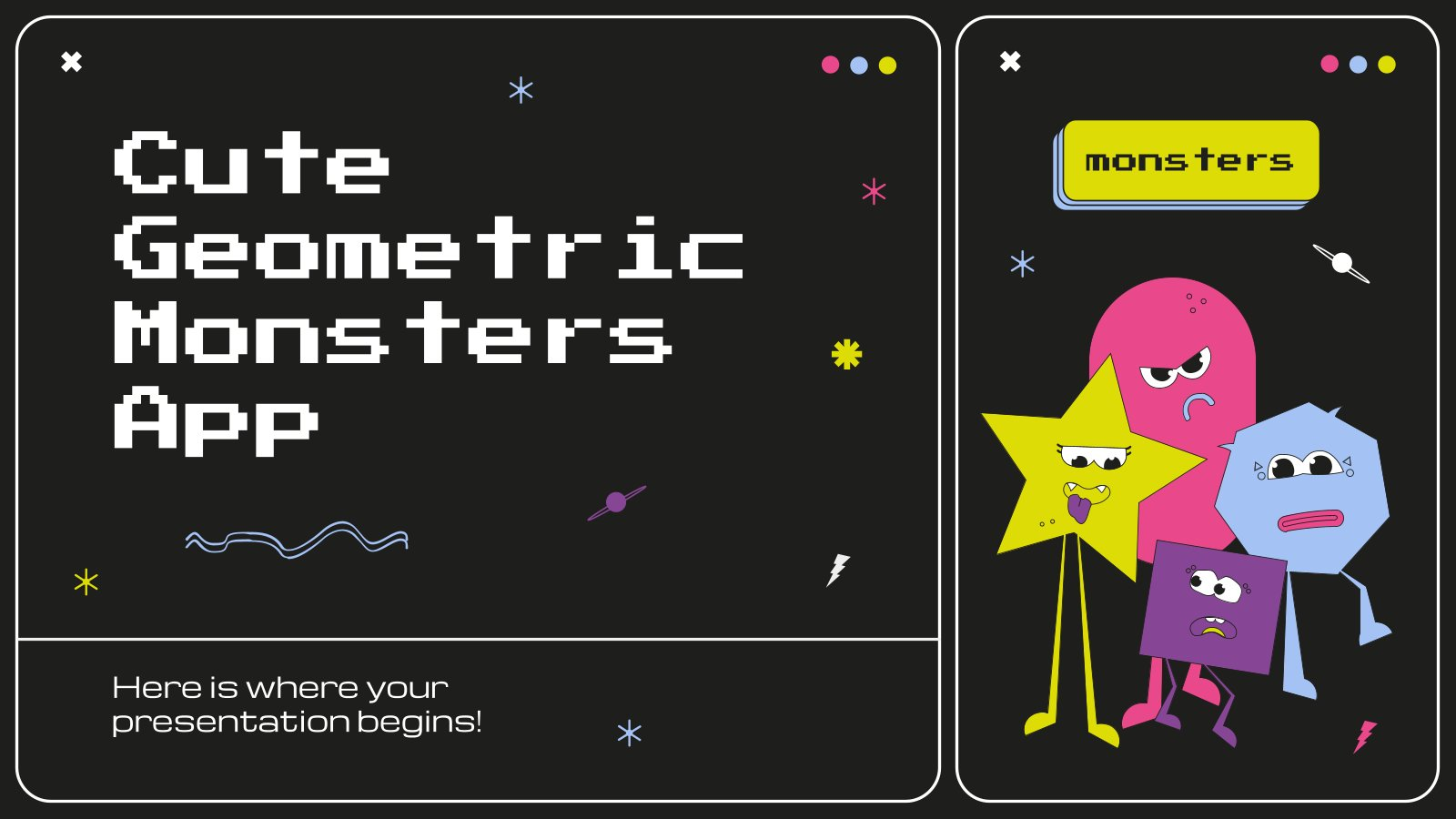 Cute Geometric Monsters App presentation template