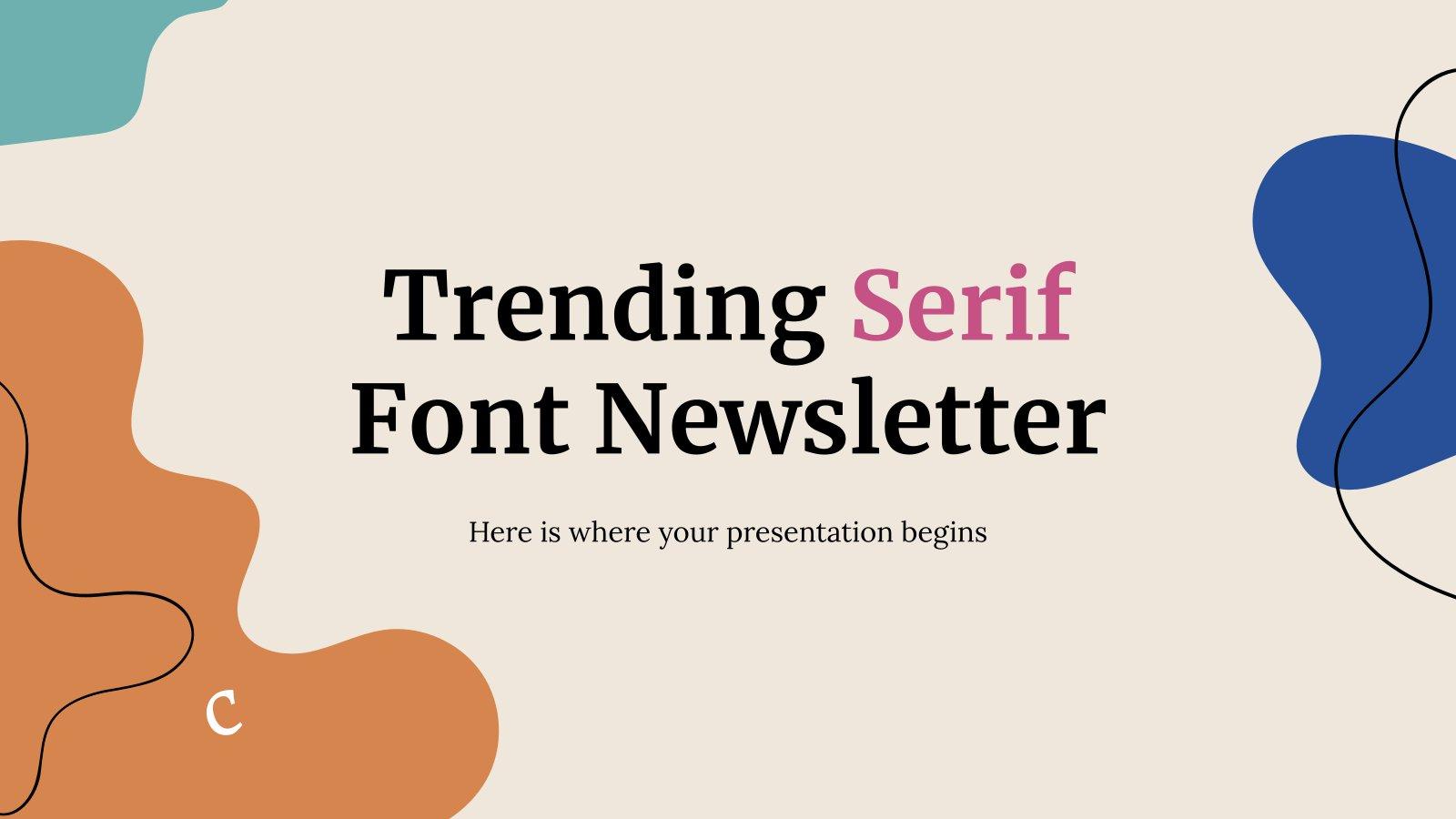 Modelo de apresentação Newsletter com fontes serifadas