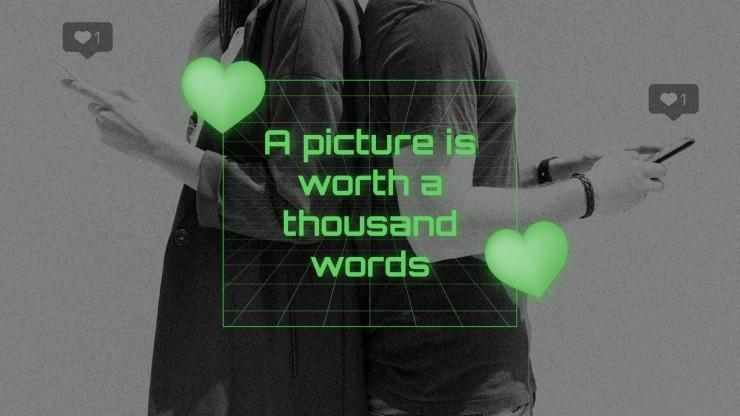 Plantilla de presentación App de amor virtual retro