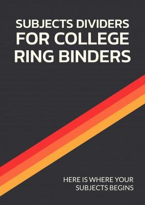 Plantilla de presentación Separadores de materias para carpetas de anillas de universidad
