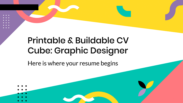 Printable & Buildable CV Cube: Graphic Designer presentation template