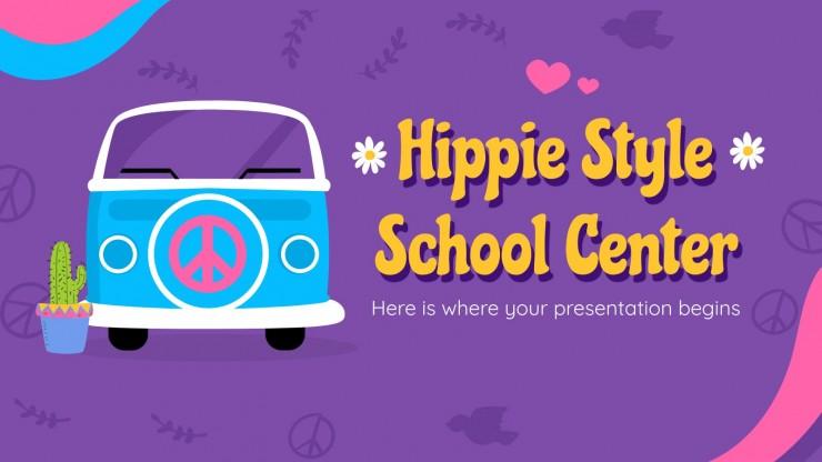 Modelo de apresentação Centro escolar de estilo hippie