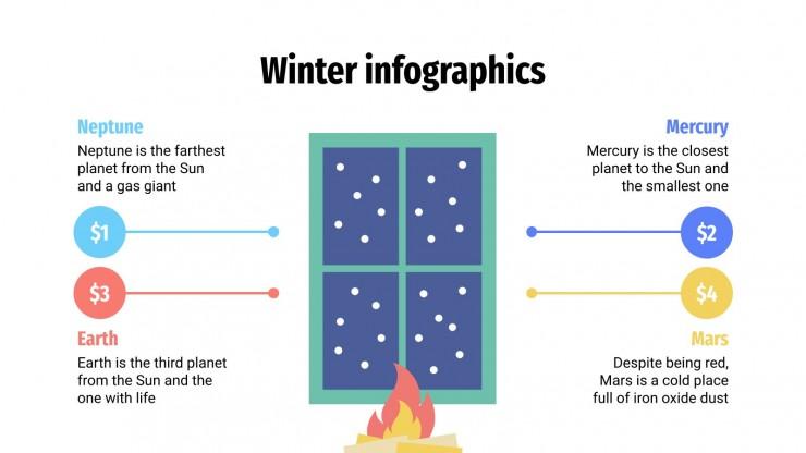 Modelo de apresentação Infográficos de inverno