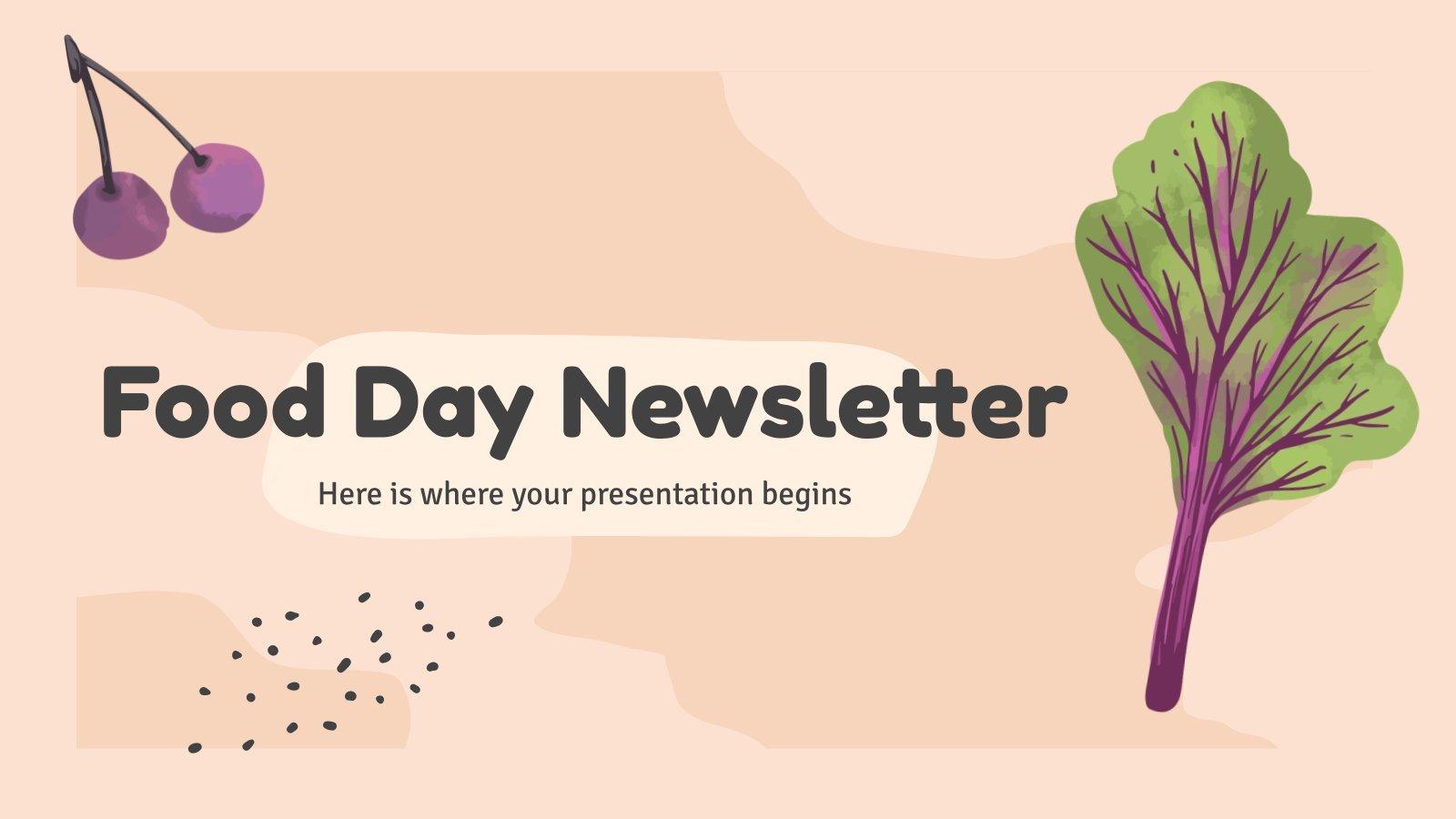 Modelo de apresentação Newsletter sobre alimentos