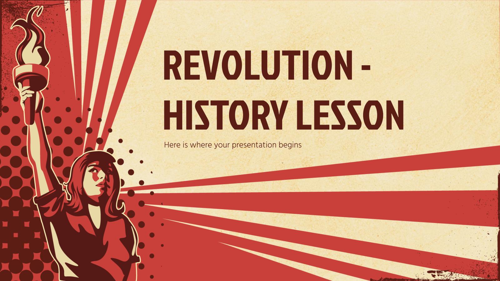 Modelo de apresentação Revolução — uma aula de história