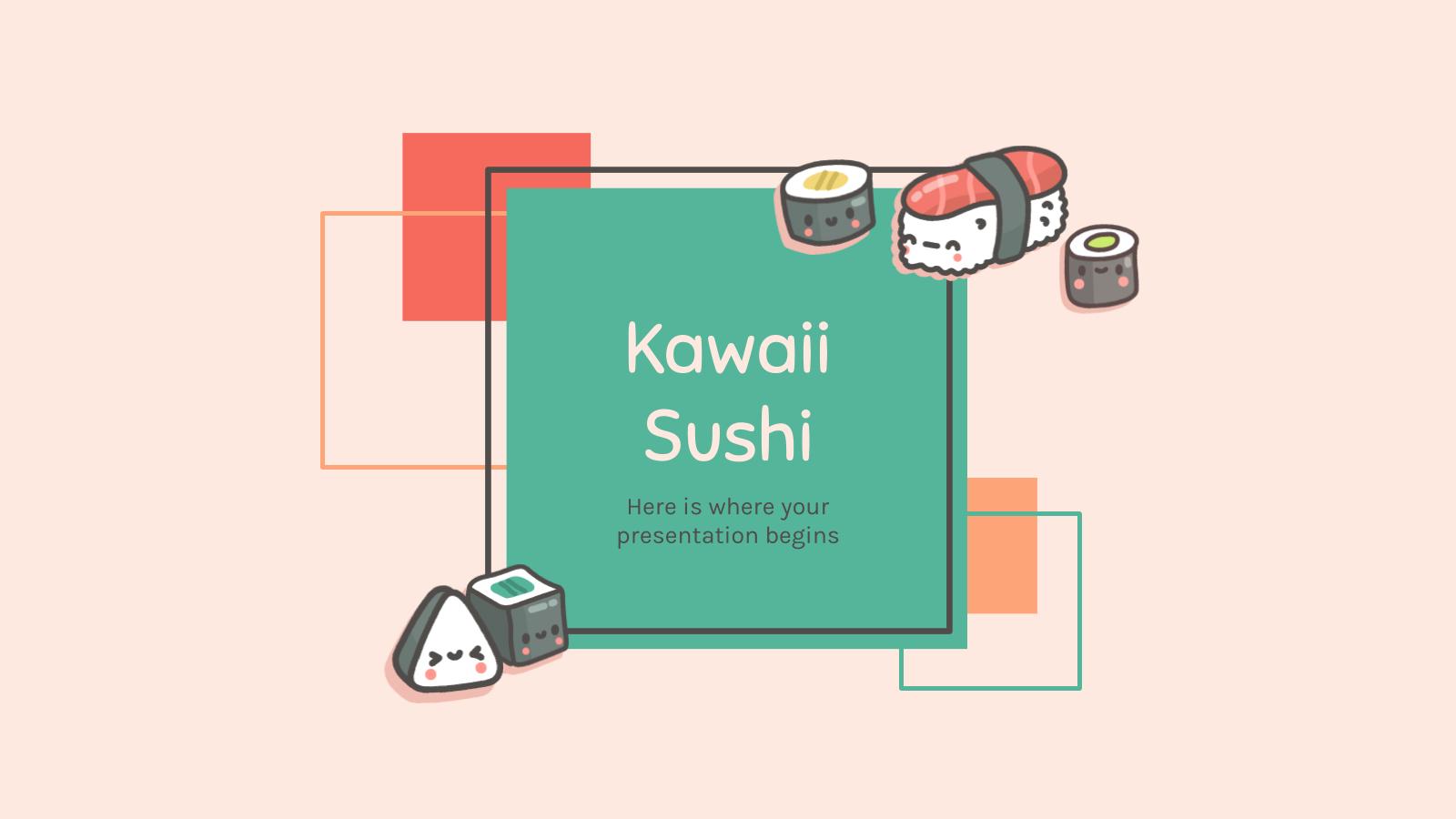 Modelo de apresentação Empresa de sushi estilo kawaii