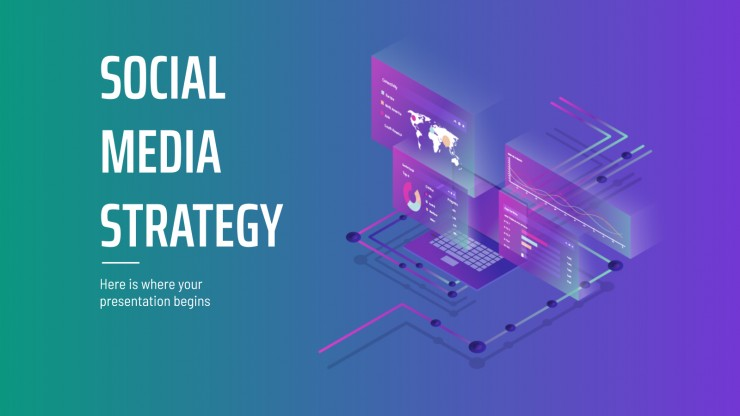 Isometric Gradient Social Media Strategy presentation template