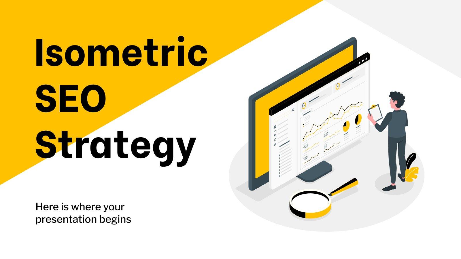 Modelo de apresentação Estratégia de SEO isométrica