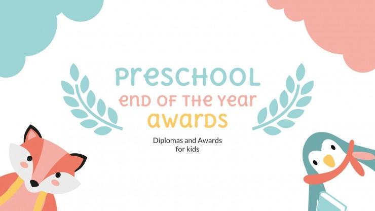 Récompense de fin d´année pour l´enseignement préscolaire : Modèles de présentation