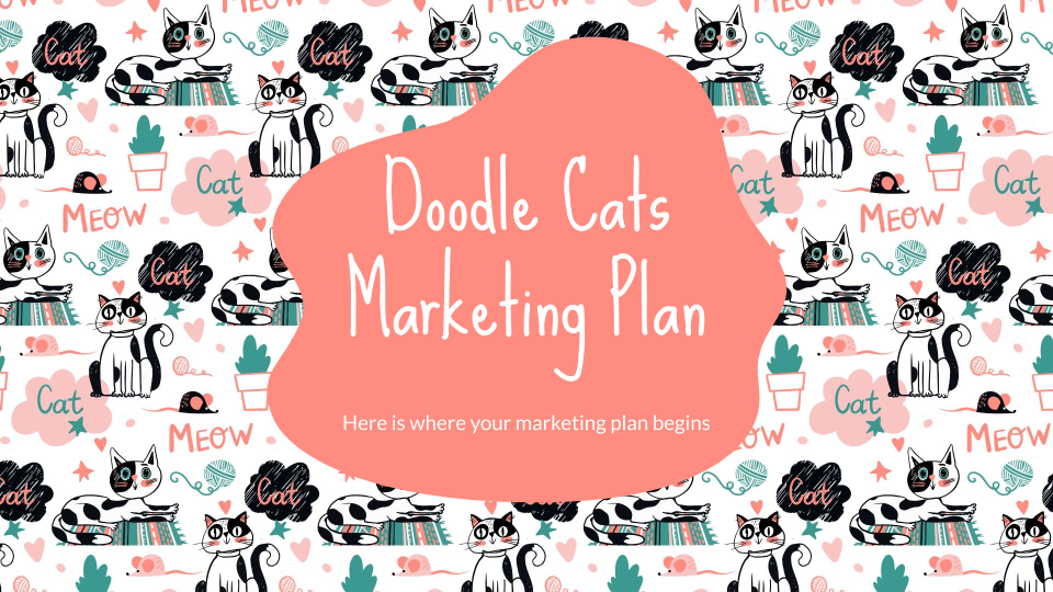 Doodle Cats Marketing Plan presentation template thumbnails