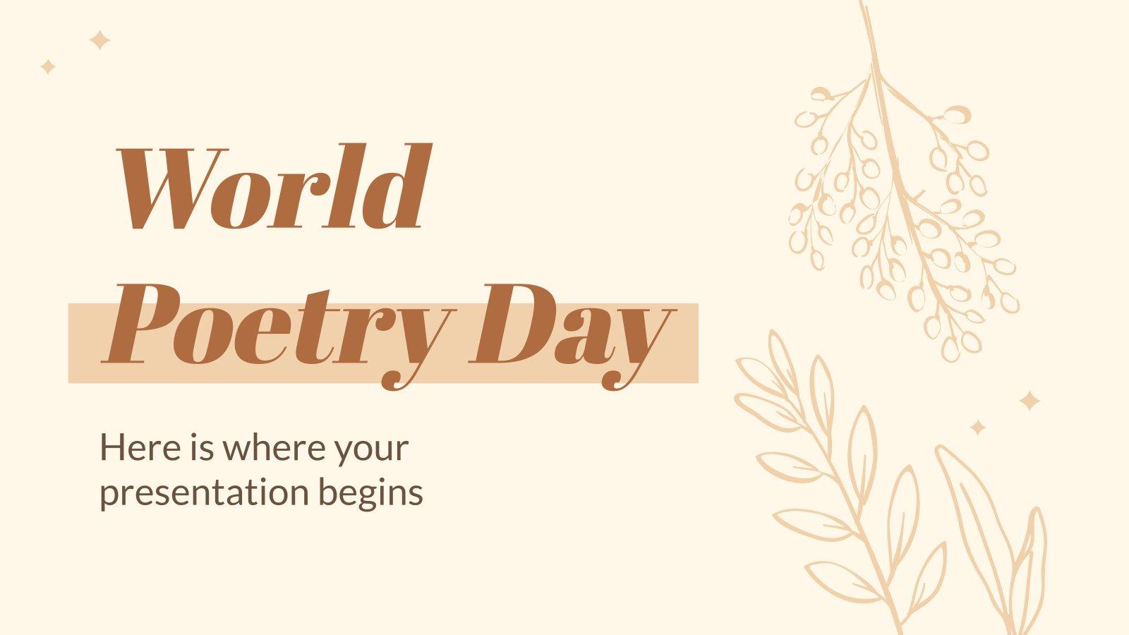 Plantilla de presentación Día Mundial de la Poesía