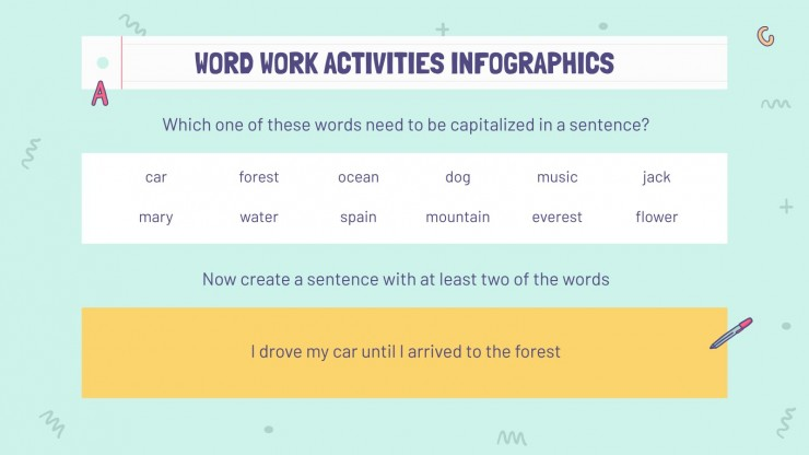 Word Work Activities Infographics presentation template