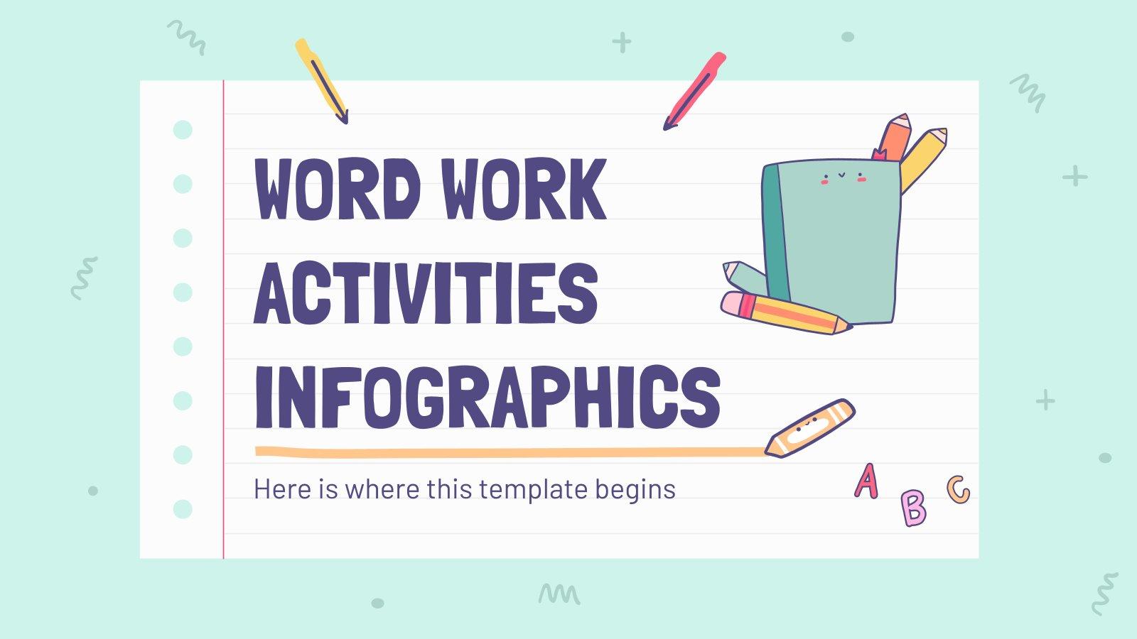 Modelo de apresentação Infográficos de atividades de vocabulário