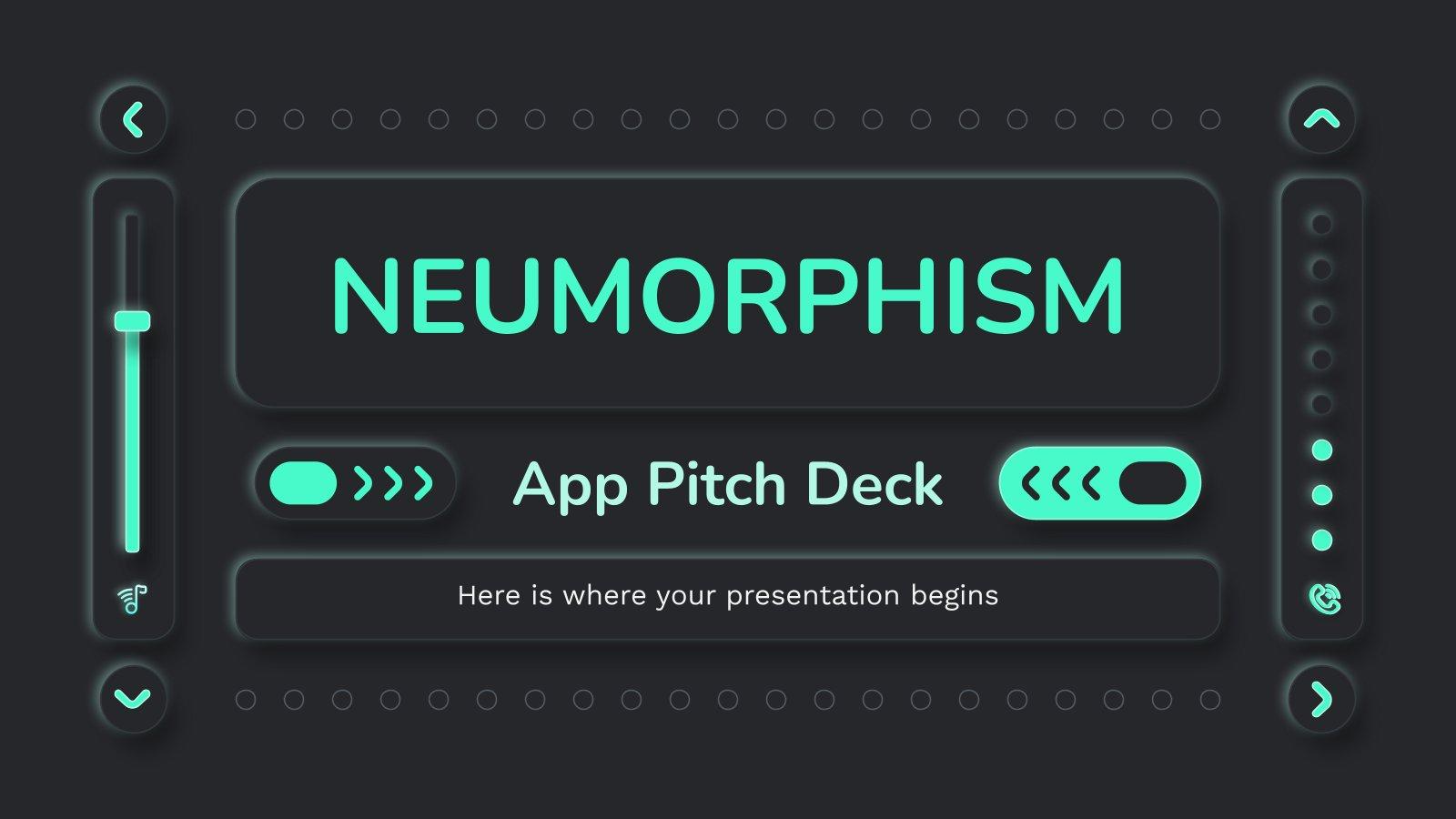 Neumorphism App Pitch Deck presentation template