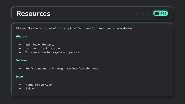Pitch deck pour une app pneumorphisme : Modèles de présentation