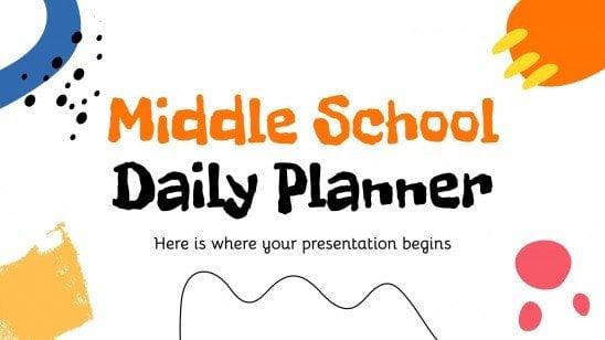 Plantilla de presentación Planificador diario de escuela secundaria