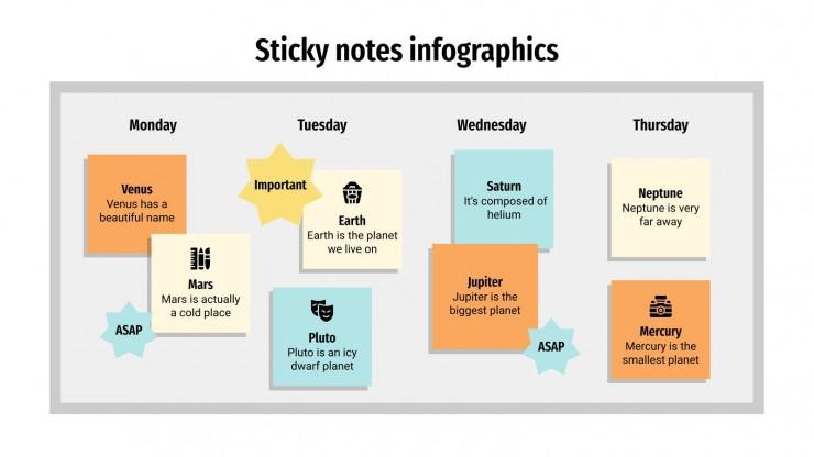 Modelo de apresentação Infográficos de notas adesivas