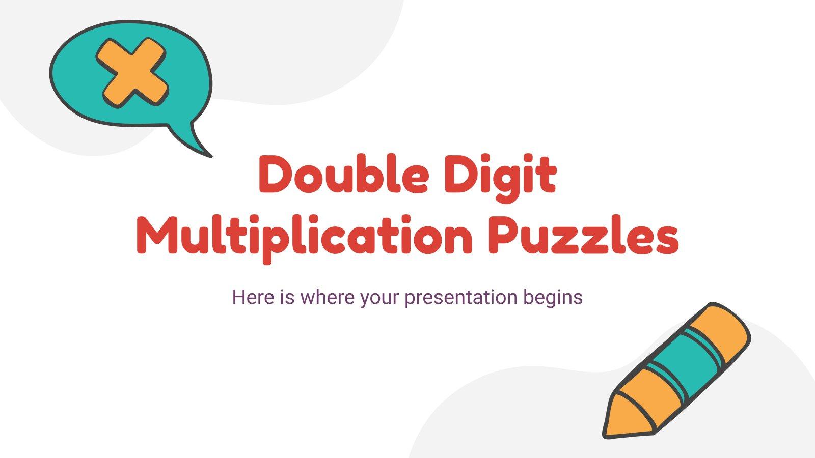 Modelo de apresentação Quebra-cabeças de multiplicação de dois dígitos