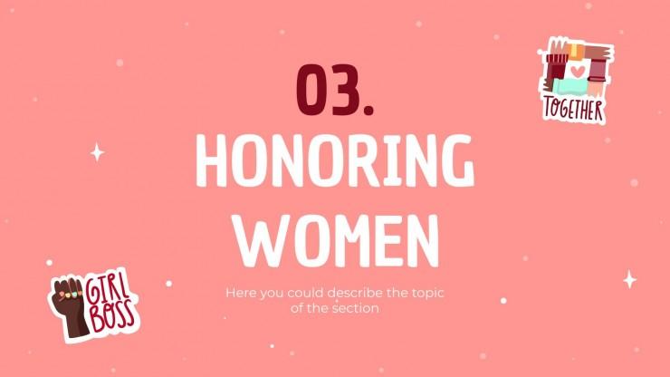 Modelo de apresentação Adesivos Dia Internacional da Mulher