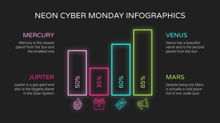 Neon Cyber Monday Infographics presentation template