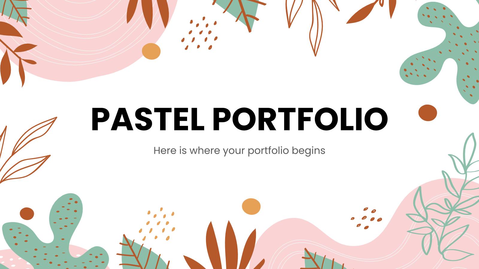 Modelo de apresentação Portfólio em tons pastéis