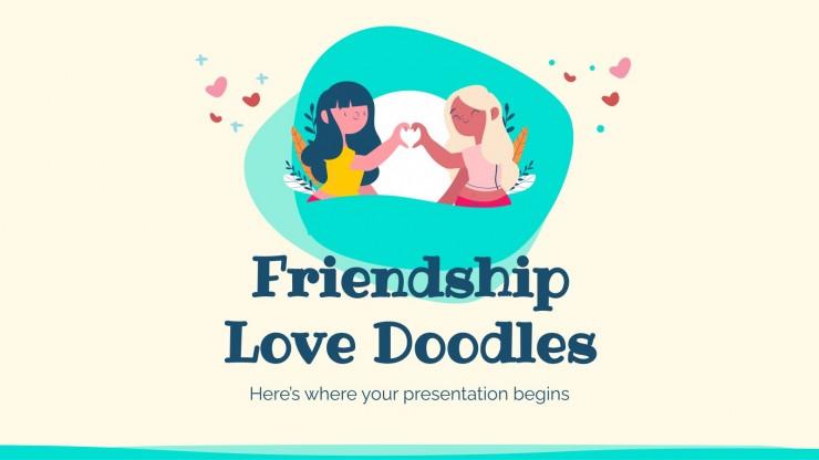 Plantilla de presentación Garabatos de amor de amistad