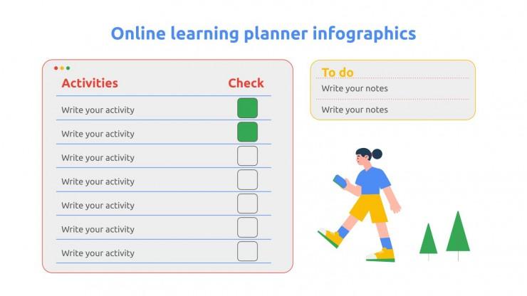 Plantilla de presentación Infografías planificador de clases online