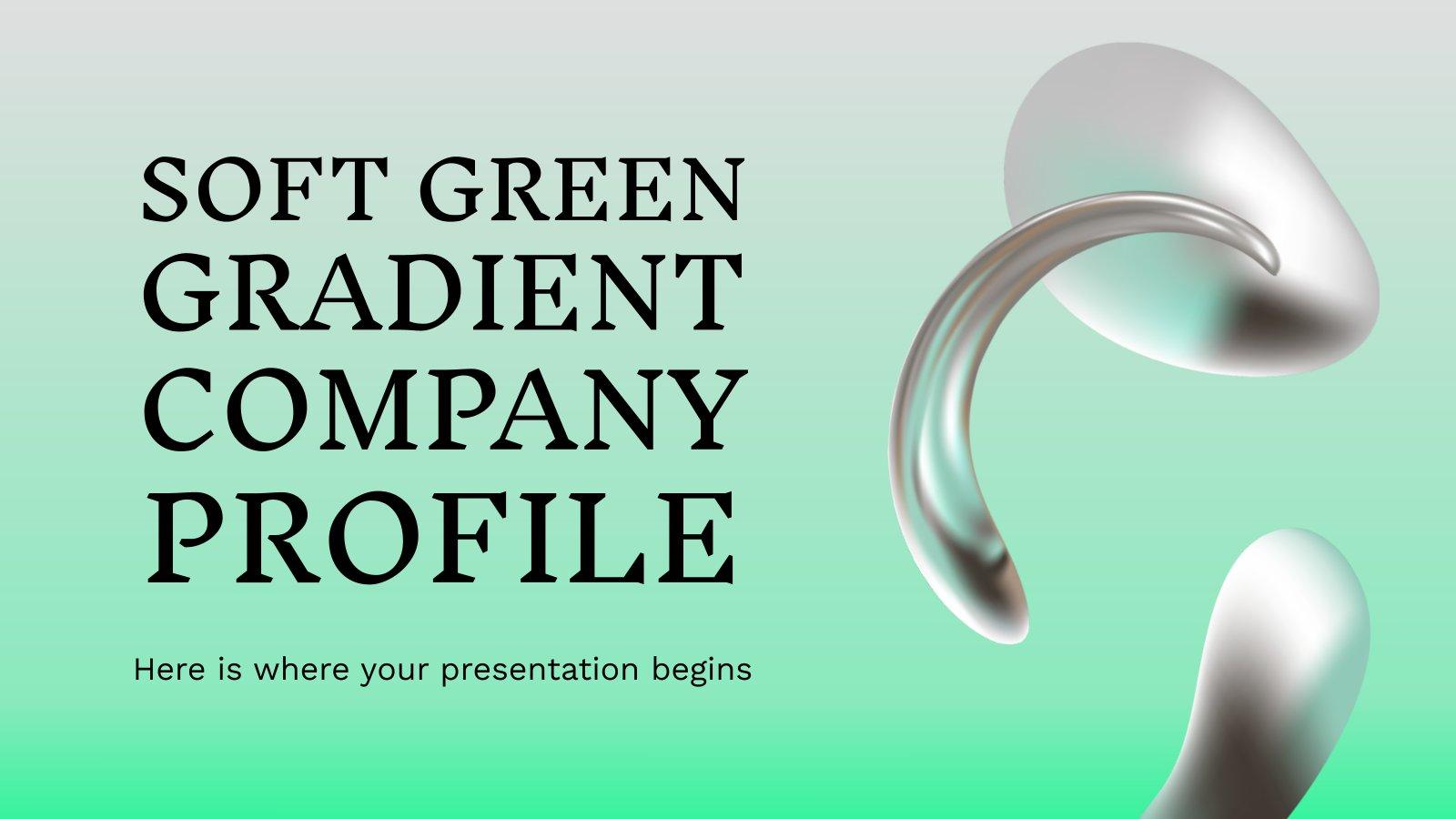 Modelo de apresentação Perfil da empresa com gradiente verde