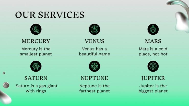 Profil d'entreprise vert dégradé : Modèles de présentation