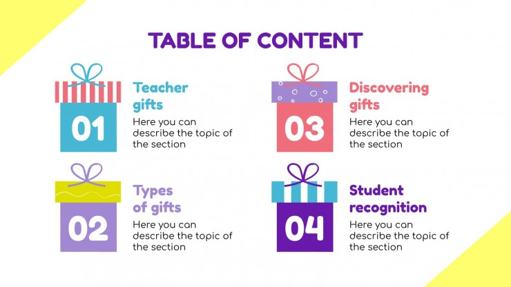 Plantilla de presentación Regalos divertidos para tus alumnos