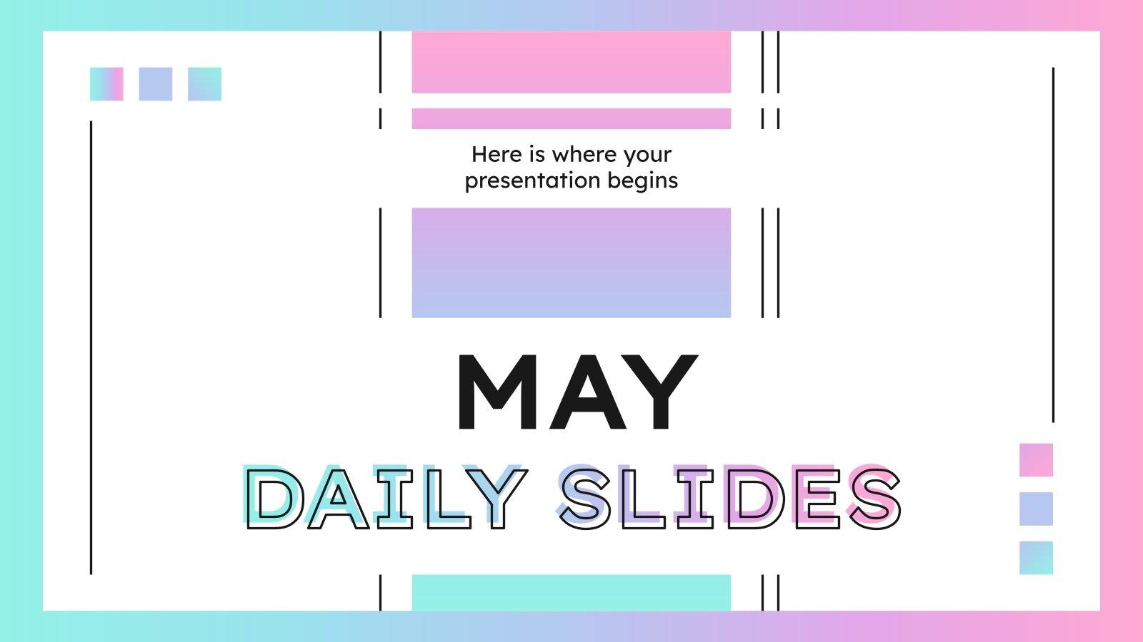 Modelo de apresentação Slides para o mês de maio