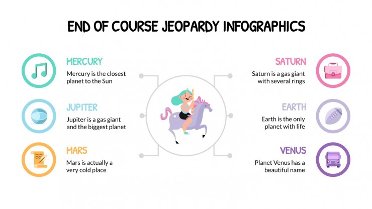 End of Course Jeopardy Infographics presentation template