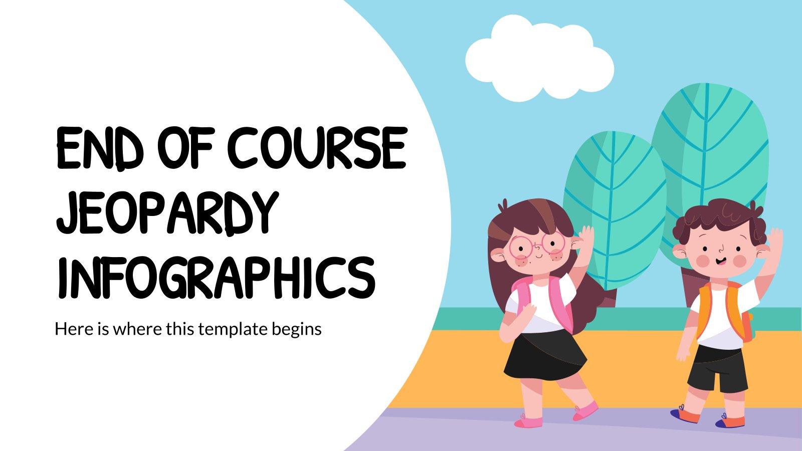 Ende des Kurses Jeopardy Infografiken Präsentationsvorlage