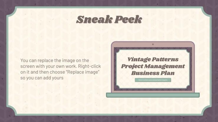 Modelo de apresentação Plano de negócios com padrões vintage
