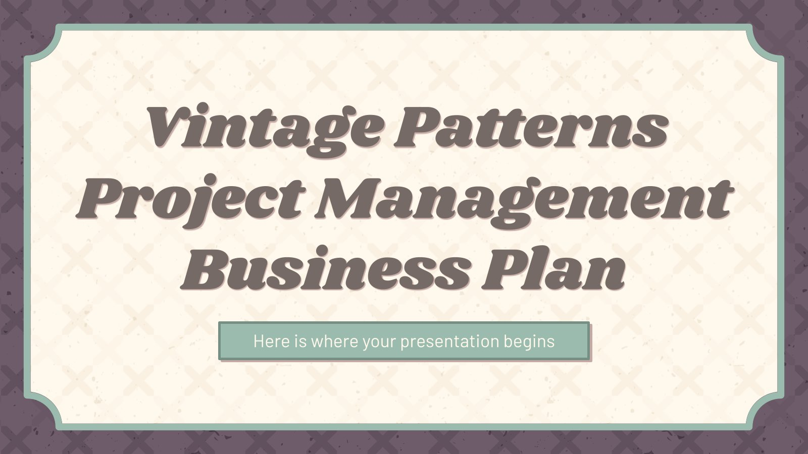 Vintage Patterns Project Management Business Plan presentation template